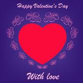 红色的心在蓝色背景上的花朵 — 图库矢量图片