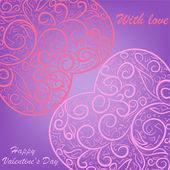 Two pink hearts on lilac background — Stock Vector