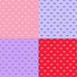 Set of heart seamless patterns — Stockvectorbeeld