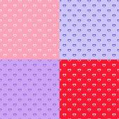 Set of heart seamless patterns — Stock Vector
