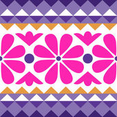 Geometry pattern with flowers — Stock Vector