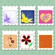 Postage stamps with flowers — Vector de stock