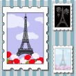 Postage stamps with paris — Stok Vektör