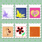 Postage stamps with flowers — Stock Vector
