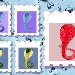 posrage znaczki z kobry — Wektor stockowy
