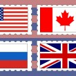 Postage stamps with flags — 图库矢量图片
