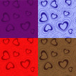 Set-of-seamless-patterns-with-hearts — Vektorgrafik