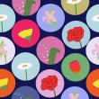 Seamless pattern with cartoon flowers — Stockvectorbeeld
