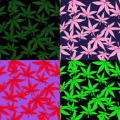 Set-of-marijuana-patterns — Vettoriale Stock