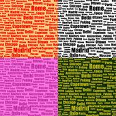 Insieme di modelli senza soluzione di continuità con i nomi di città — Vettoriale Stock