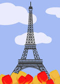 Eiffel tower with tulips — Stock Vector