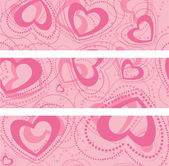 Set of banners with hearts — Vector de stock