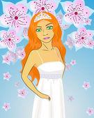 Bride in Greek style dress — Stock Vector