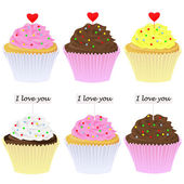 Set di cupcakes — Vettoriale Stock