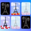 Stock Vector: Set of cards with eiffel tower
