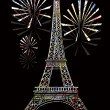 Colorful eiffel tower — Imagen vectorial
