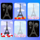 Set of cards with eiffel tower — Stock Vector