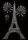 Colorful eiffel tower — Stock Vector