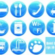 Stock Vector: Hotel icons on buttons
