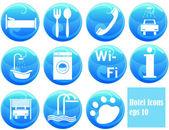 Hotel ikony na przyciski — Wektor stockowy
