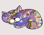 Gato en estilo étnico — Vector de stock