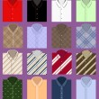 Set of folded shirts — Vector de stock #21352453