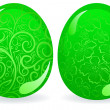 Stock Vector: Green easter eggs