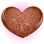 Brown heart with ornate — Stock Vector