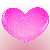 Pink heart with ornate — Stock Vector
