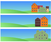 Banners with norvegian houses — Stock Vector
