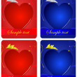 Set of cards with hearts — Imagen vectorial
