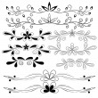 Set of floral design elements - Stock Vector