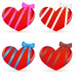 Set of hearts with ribbons — Stock Vector