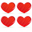 Set of striped hearts — Stock Vector