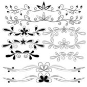Set of floral design elements — Vector de stock