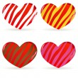 Stock Vector: Set of striped hearts