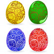Set of eggs with ornate — Imagen vectorial
