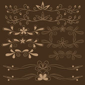 Set of brown floral design elements — Stock Vector