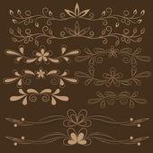 Set of brown floral design elements — Stock Vector