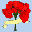 Hand drawing bouquet of poppies — Stockvectorbeeld