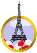Eiffel tower in round frame — Stock Vector