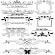 Set of floral calligraphic design elements — Stok Vektör #22348083