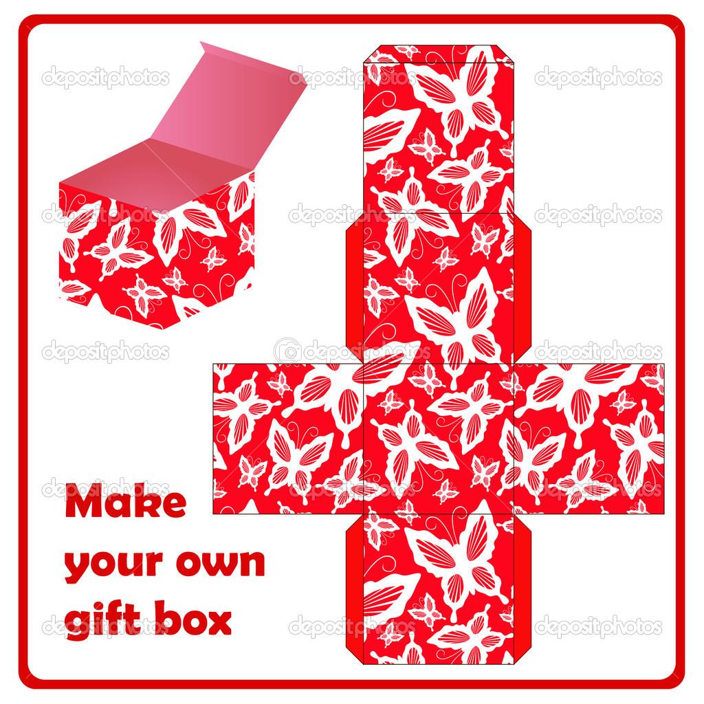 Большая подарочная коробка из картона своими руками схема