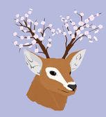 Deer with flowerinf horns — Stock Vector