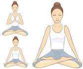 Meditation poses — Stock Vector