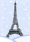Grunge eiffel tower with snow — Stock Vector