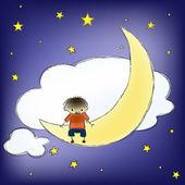 Boy on the moon — Stock Vector