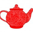 Stock Vector: Red teapot