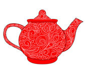 Red teapot — Stockvector
