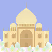 Taj Mahal with lotuses — Stock Vector